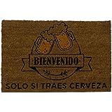 koko doormats felpudos Entrada casa Originales, Fibra de Coco y PVC, Felpudo Exterior Bienvenido Solo SI TRAES Cerveza, 40x60