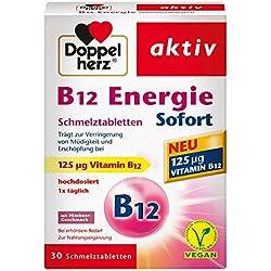 Doppelherz B12 Energie Sofort Schmelztabletten – Nahrungsergänzungsmittel bei erhöhtem Bedarf – Vitamin B12 zur Verringerung von Müdigkeit und Erschöpfung – 1 x 30 Schmelztabletten