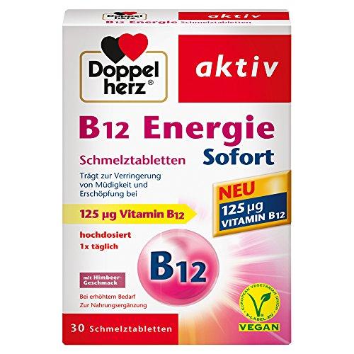 Doppelherz B12 Energie Sofort Schmelztabletten - Nahrungsergänzungsmittel bei erhöhtem Bedarf - Vitamin B12 zur Verringerung von Müdigkeit und Erschöpfung - 1 x 30 Schmelztabletten