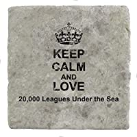 Keep Calm and love 20,000 Leagues Under the Sea - Marble Tile Drink Coaster