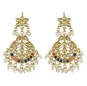 La Amber Multicolored Chandbali Earring For Women