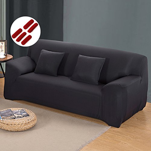 Sofabezug Sofahusse Sofaabdeckung Sesselbezug Sesselhusse Sofaüberwurf Stretch Elastisch (3 sitzer 190-230cm, Schwarz)