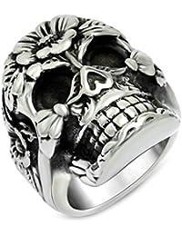 cb49cbde4b Epinki da uomo, anelli, Acciaio Inossidabile signore Ring Retro fascino  fiore cranio anelli Band