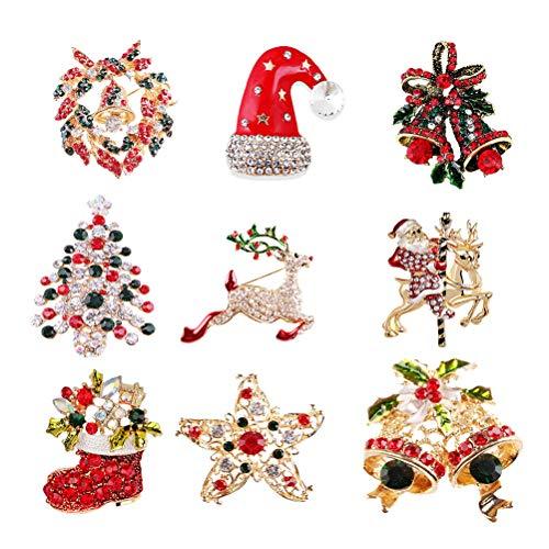 SUPVOX Mehrfarbiger Rhinestone-Kristallweihnachtsbrosche eingestellt für Weihnachtsdekorations-Weihnachtsbaum, Santa Claus, Schneemann, Klingel Bells, Stern, Girlande, ()