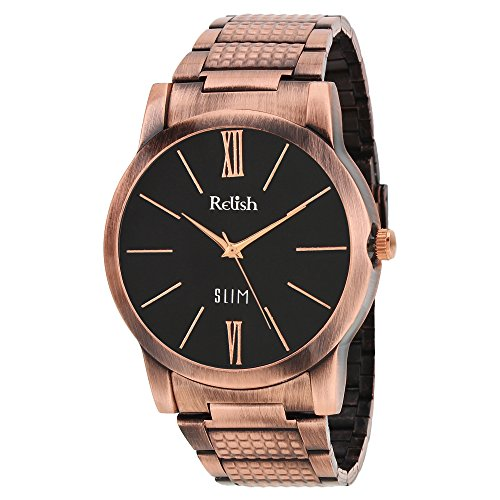 RELISH RE-C8028CC Copper Case Black Dial Analog Watch For Mens & Boys