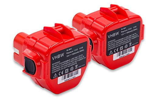 vhbw 2 x NiMH Akku 1500mAh (12V) für Elektro Werkzeug Makita 8270D, 8270DWAE, 8270DWALE, 8271, 8271D, 8281DWAE, 8413D wie 1220, 1222, 1233
