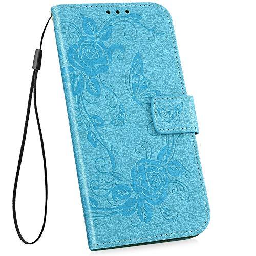 YSIMEE Compatible con Fundas Samsung Galaxy S10 Estuches,Carcasa Libro de Cuero Ultra Delgado Billetera Cartera Ranuras de Tarjeta,Soporte Plegable,Cierre Magnético Flip Cover,Azul #1