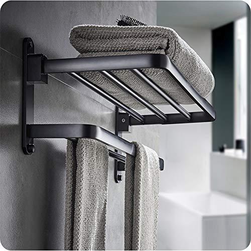 WUYING Sin Taladro Espacio De Aluminio Plegable Estante De Toalla Negro Cuarto De Baño Barra De Toalla Montado En La Pared Toallero Barra