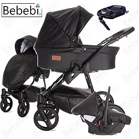 bebebi | modèle Eco fixed-wing | Isofix Base & siège auto–Poussette combi 3en 1–Air Pneus