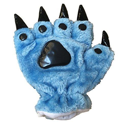 YESBOR Unisex Bear Plush Paw Claw Gloves Soft Winter Mittens Blue S