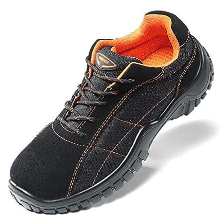 ZYFXZ Männer Suede/Canvas Low-Top Sneaker, Stahlkappe Damen Lauf Construction Boots, Leichte atmungsaktive Honeycomb…