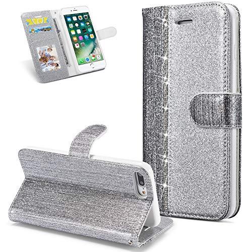 Huphant kompatibel mit iPhone 7 Plus / 8 Plus Handyhülle Glitzer Leder Hülle Flip Schutzhülle Tasche mit iPhone 7 Plus/iPhone 8 Plus Kartenfach Geldklammer Ständer Kartenfächer -Diamant silber