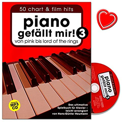 Piano gefällt mir–Volume 3–Livre Le Jeu ultime pour Piano ARRANGIERT de Hans de Günter foin–Père avec CD et coloré Cœur Note Pince