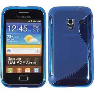 PhoneNatic Case für Samsung Galaxy Ace Plus Hülle Silikon blau S-Style Cover Galaxy Ace Plus Tasche + 2 Schutzfolien