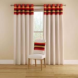"""Tropical Stripe, Terracotta - Ready Made Curtains 229cm(w) x 137cm(d) (90"""" x 54"""") - Pair"""