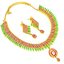 Jewar Mandi gold plated GEMSTONE RUBY emerald CZ FINE real diamond look STYLISH DESIGNER PAVE JEWELRY 3519 necklace for women girls