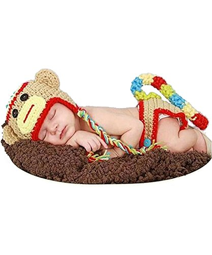 DAYAN 2016 Affe-Entwurf Neugeborene Baby Mädchen Jungen Häkelarbeitknit-Kleidung-Kostüm Foto Fotografie Props Outfit (Baby Mädchen Affe Kostüm)