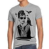style3 Audrey Tattoo Herren T-Shirt hollywood film hepburn star, Größe:XXL, Farbe:Grau meliert