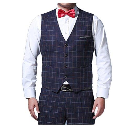 Zhhlaixing Moda Men's V-neck Sleeveless Suit Vest Plus Size Waistcoat Business Suit Dark Blue