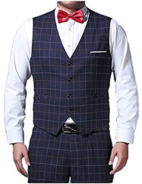 Zhuhaitf Negocio Formal Mens Plus Size Blazer Sleeveless Waistcoat V-neck Suit Vests