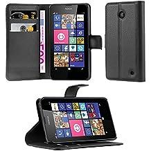 Cadorabo - Funda Nokia Lumia 630 / 635 Book Style de Cuero Sintético en Diseño Libro - Etui Case Cover Carcasa Caja Protección (con función de suporte y tarjetero) en NEGRO-FANTASMA