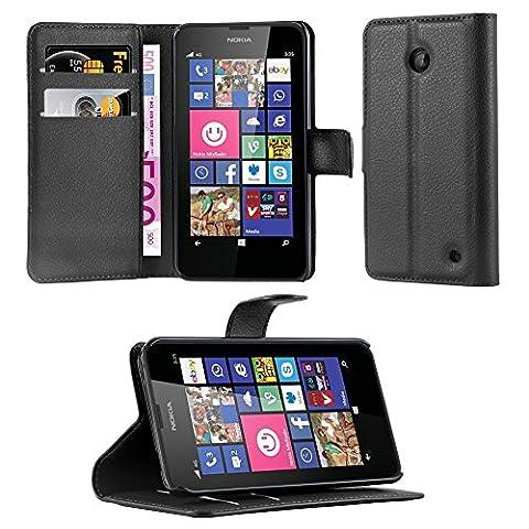 Cadorabo - Etui Housse pour > Nokia Lumia 630 / 635 < – Coque Case Cover Bumper Portefeuille (avec stand horizontale et fentes pour cartes) en NOIR DE JAIS