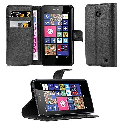 Cadorabo Coque pour Nokia Lumia 630/635 en Noir DE Jais – Housse Protection avec Fermoire Magnétique, Stand Horizontal et Fente Carte – Portefeuille Etui Poche Folio Case Cover