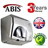 Hand Dryer - High Speed Automatic Electric Heavy Duty Stainless Steel Commercial Hand Dryer for Toilets, Washrooms, High Traffic, Businesses, Schools, Colleges, Restaurants, Pubs, Night Clubs, Hotels, Warehouses, Public Areas, Airports, Bus Stations - ABIS Storm Bro Eco Plus Updated Model