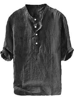 HTOOHTOOH Men T-Shirts Solid Color Button V Neck Patch Linen Short Sleeve Tops