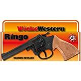 NET TOYS 8 Schuss Ringo Pistole 198 mm schwarz-braun Sheriff Revolver Western Colt Spielzeug Texas Waffe Cowboy Knarre