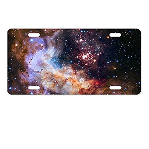 warrantyll Multicolor Galaxy Space Sterne Neuheit Metallösen Lizenz Platte 6 von 30,5 cm (State University Chrome Frame)