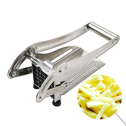 kiss me Pommes Frites Schneider Edelstahl mit Saugfuß und 2 Extra Scharfen Klingen Für dünne oder größere Pommes - Gemüseschneider für Kartoffeln und Obst