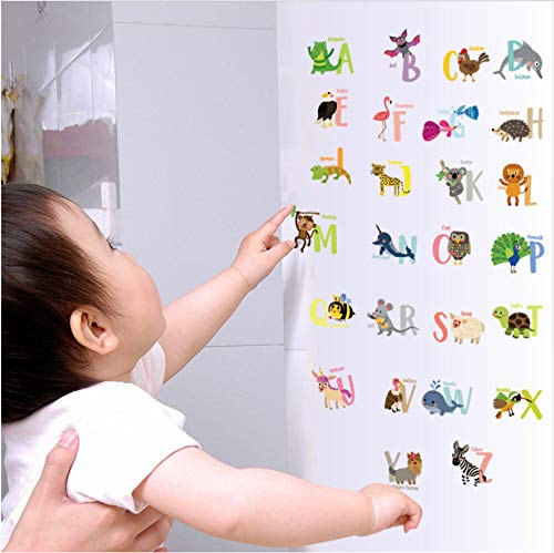 HLLCY 26 English Letters Animal Wall Sticker Laptop Fridge Wall Stickers for Kids Rooms Bedroom Decoration Stickers Muraux