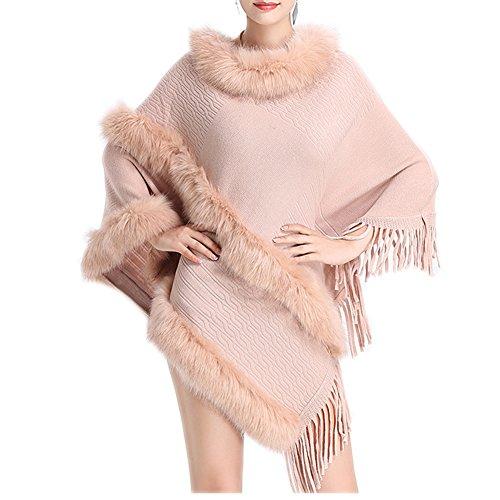 FOLOBE Frauen Fr¨¹hling und Herbst neue Pullover Schal Flut gro?en Code lose Quaste Tasche stricken Pullover Strickjacke Pullover Mantel weiblich (Cape Faux Getrimmt Pelz)
