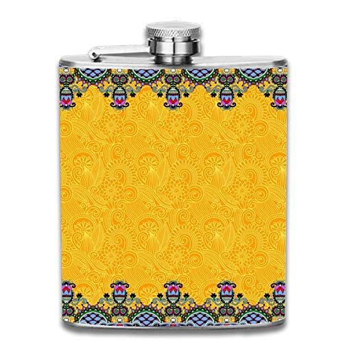Miedhki Yellow Ornament Stripe Flasks Stainless Steel Hip Flask Assorted Colors,7oz