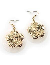 Runde Perlmuttblumen-Ohrhänger (Weiß)