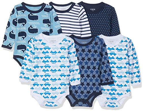 Care Baby - Jungen Langarm-Body im 6er Pack, Blau (Dark Navy 778-2), 12 Monate/80 cm