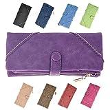 Wocharm Women Fashion Lady Leather Wallet Button Clutch Purse Long Handbag Bag Black Pink Blue Purple Red