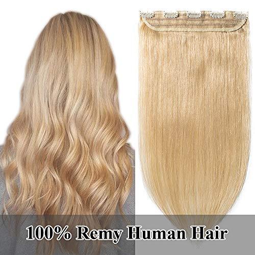 """TESS Clip in Extensions Echthaar guenstig 1 Tresse 5 Clips Haarteile 3/4 Haarverlängerung Glatt 7A Haar Extensions #24 Mittelblond, 18""""(45cm)-50g"""