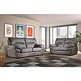 SHIITO Conjunto de Sofas de Tres y Dos plazas tapizado en Polipiel en Color Chocolate