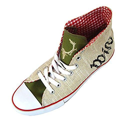 Herren Trachtensneaker Wild Trachtenschuhe für Herren Sneaker beige grün ,42 EU