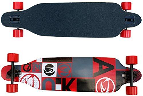 Longboard in rot als Racing Board ABEC-7 Lager und 9 Schichten Kanadisches Ahorn Holz