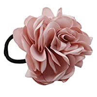 Winwinfly Pink Headwear Women Hair Band Rose Flower Scrunchie Ponytail Rope Barrettes