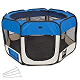 TecTake Pet Play Pen Dog Cat Puppy Fabric Soft Foldable Playpen 115 x 115 x 64 cm blue