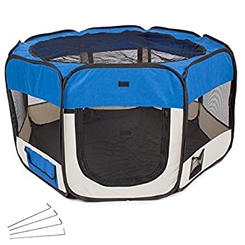 TecTake Parc à chiots chien chaton chat enclos pour chiens 125 x 125 x 64 cm (LxlxH) bleu