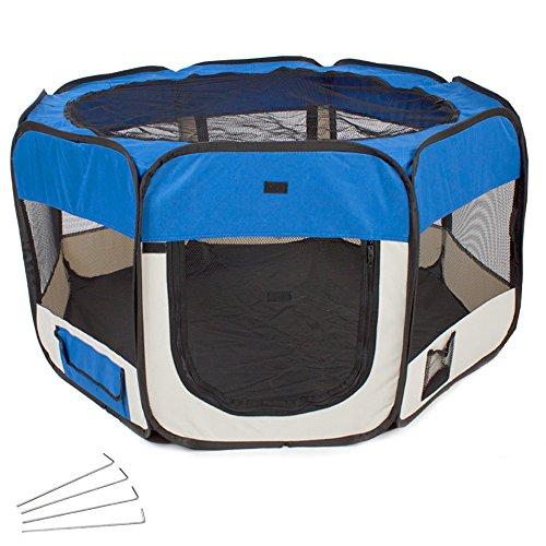 TecTake Welpenlaufstall Tierlaufstall blau für Kleintiere wie Hunde, Hasen, Katzen blau