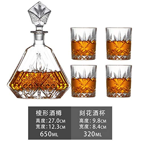FeiKe 5 Teile/Satz Crafted Glass Decanter Whisky Gläser Set mit Verziertem Sper und 4 Exquisiten Cocktailgläsern Tasse für Bar Home Party, Blau