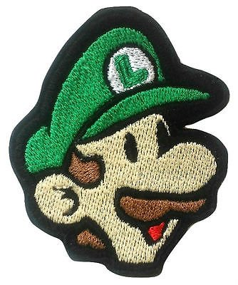 Luigi Patch (9 cm) Super Mario Brothers Aufbügeln oder nähen auf Badge Aufnäher Souvenir Retro DIY Kostüm World Kart All Stars (Kostüme Peach Princess Diy)