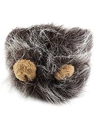 edealing (TM) Ears Chien Chat Emulation drôle Lion Hair Mane Head Cap Automne Hiver Dress Up Costume Muffler Scarf (Gris)