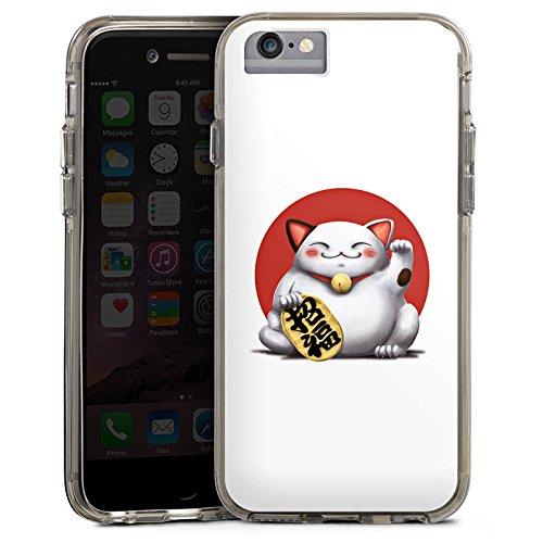 Apple iPhone 6s Bumper Hülle Bumper Case Glitzer Hülle Kawaii Katze Cat Bumper Case transparent grau
